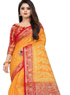 Mustard Festival Art Silk Trendy Saree