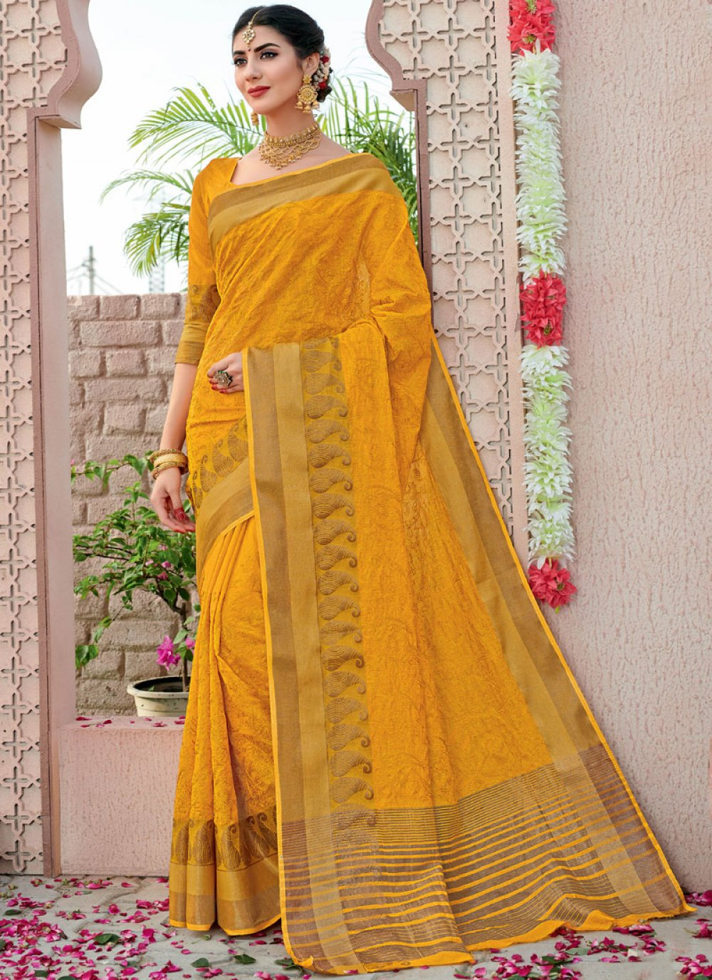 Mustard Festival Designer Traditional Saree