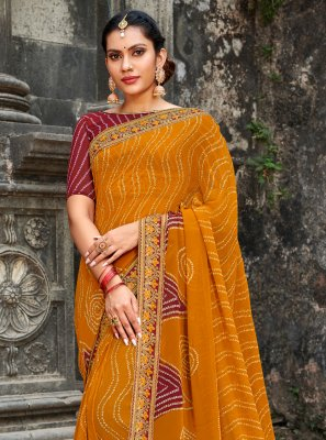 Mustard Georgette Border Traditional Designer Saree