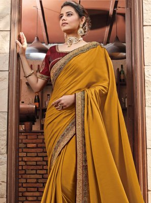 Mustard Georgette Satin Ceremonial Classic Saree