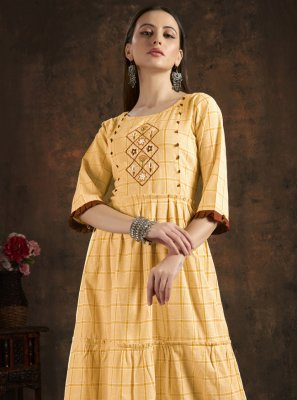 Mustard Handwork Cotton Party Wear Kurti