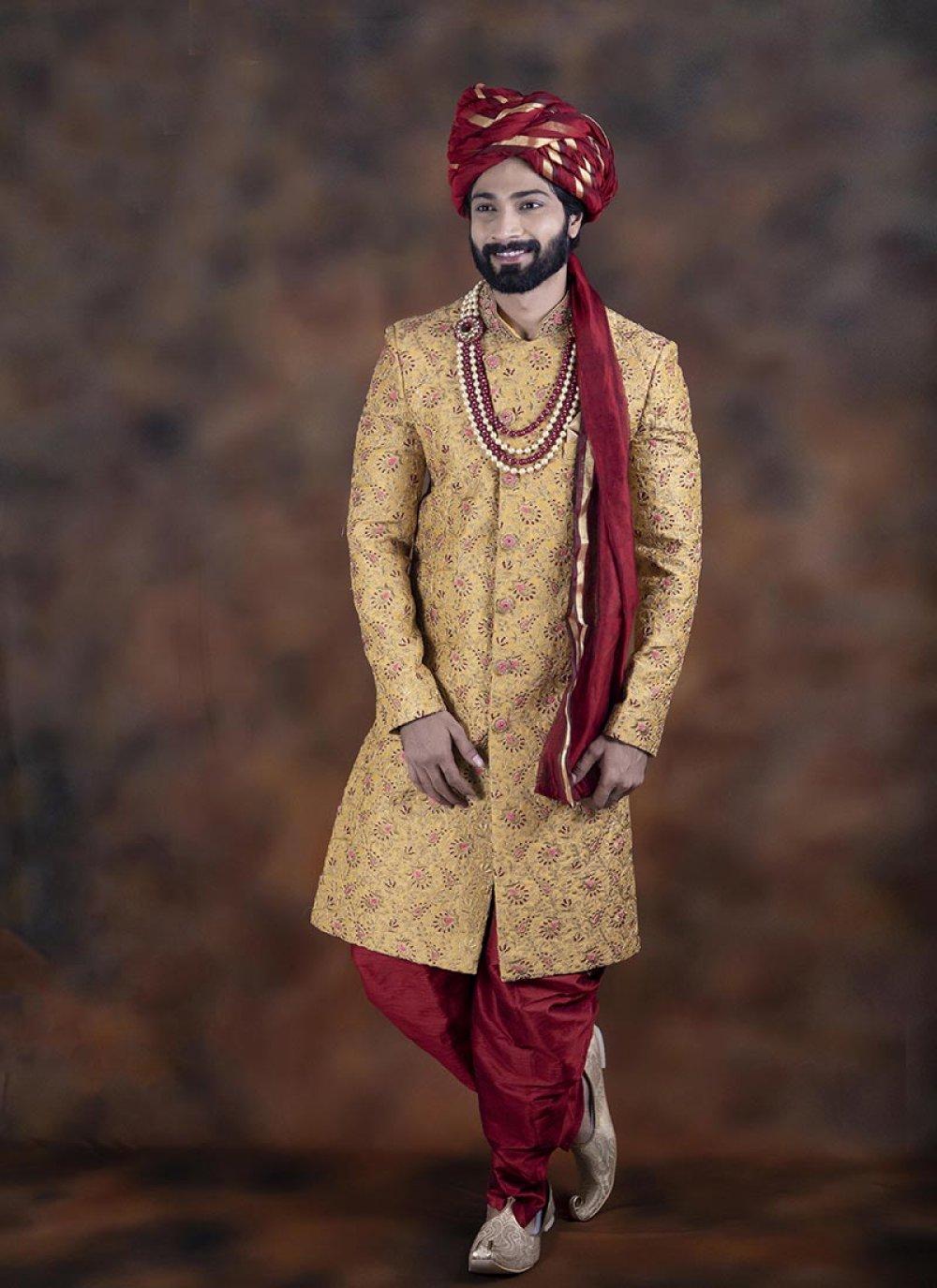 Mustard Jacquard Embroidered Indo Western Sherwani
