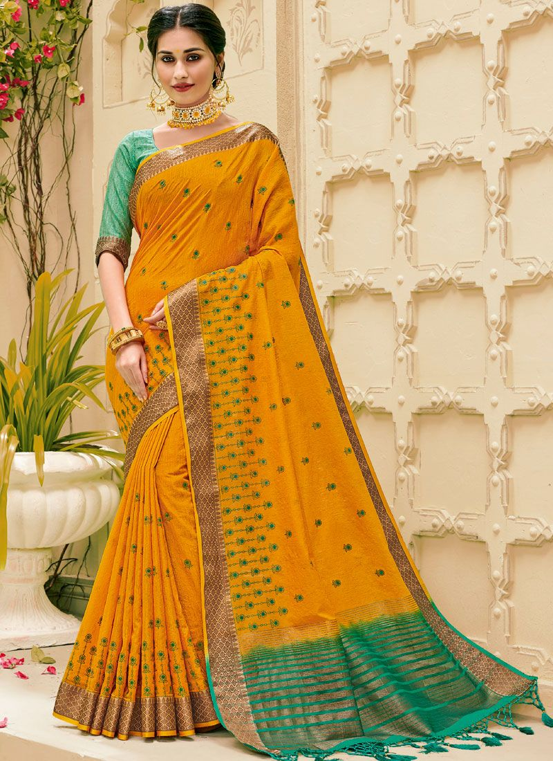Mustard Jute Silk Weaving Classic Designer Saree