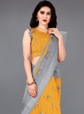 Mustard Party Casual Saree