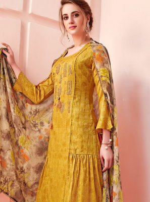 Mustard Party Cotton Pant Style Suit