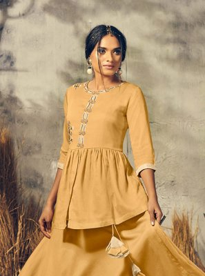 Mustard Party Cotton Satin Designer Kurti