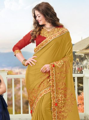 Mustard Party Faux Chiffon Traditional Saree