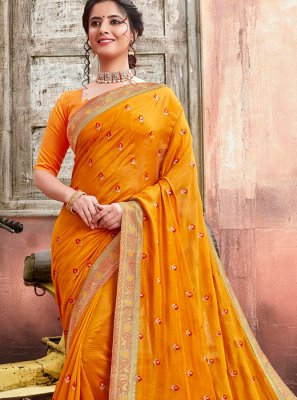 Mustard Party Silk Designer Saree