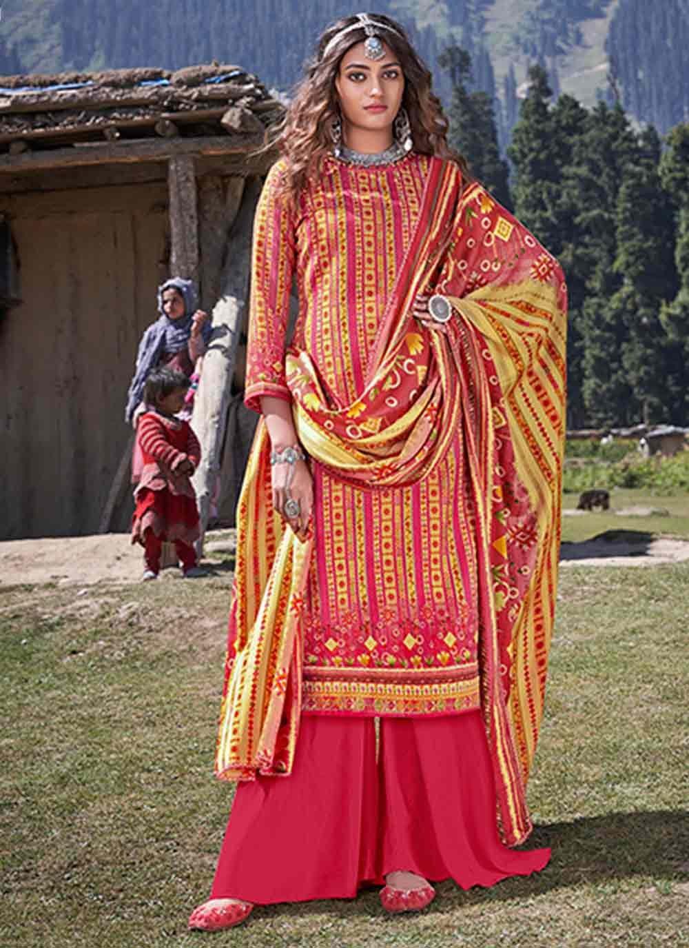 Mustard Pashmina Party Trendy Salwar Kameez