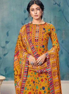 Mustard Pashmina Salwar Suit