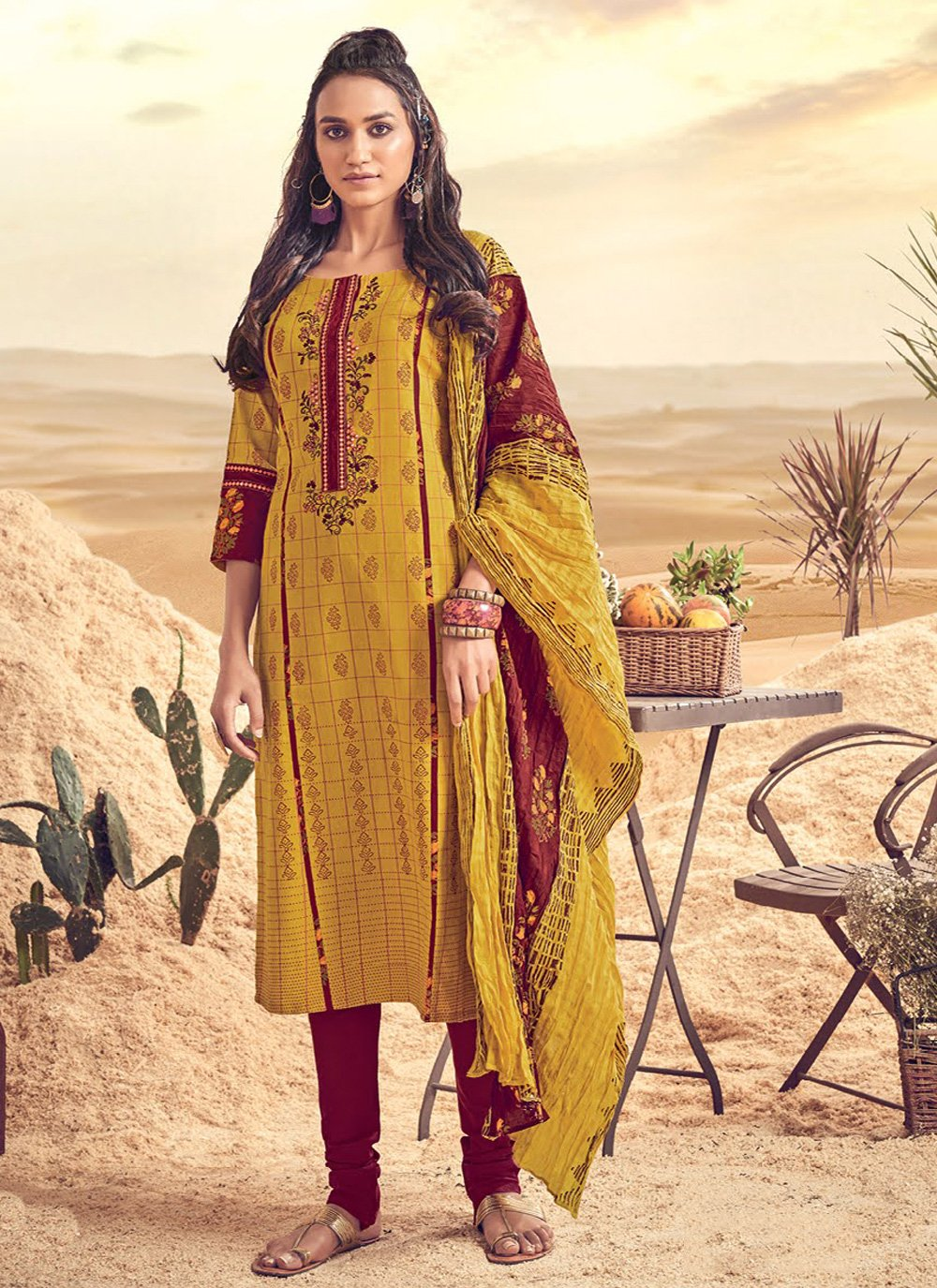 Mustard Polly Cotton Resham Salwar Suit