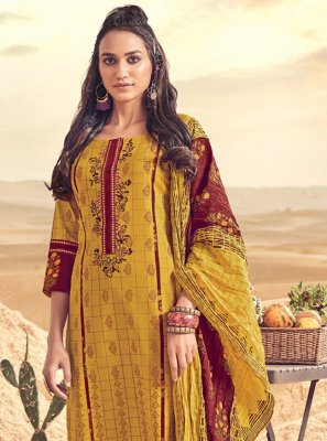 Mustard Polly Cotton Resham Salwar Suit