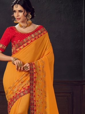 Mustard Poly Silk Embroidered Trendy Saree