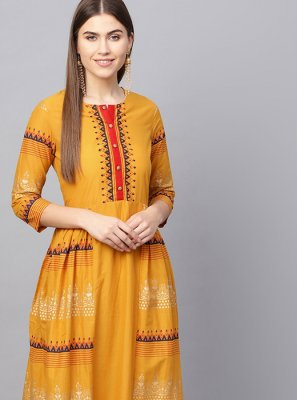 Mustard Printed Cotton Party Wear Kurti