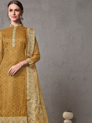 Mustard Printed Cotton Salwar Suit