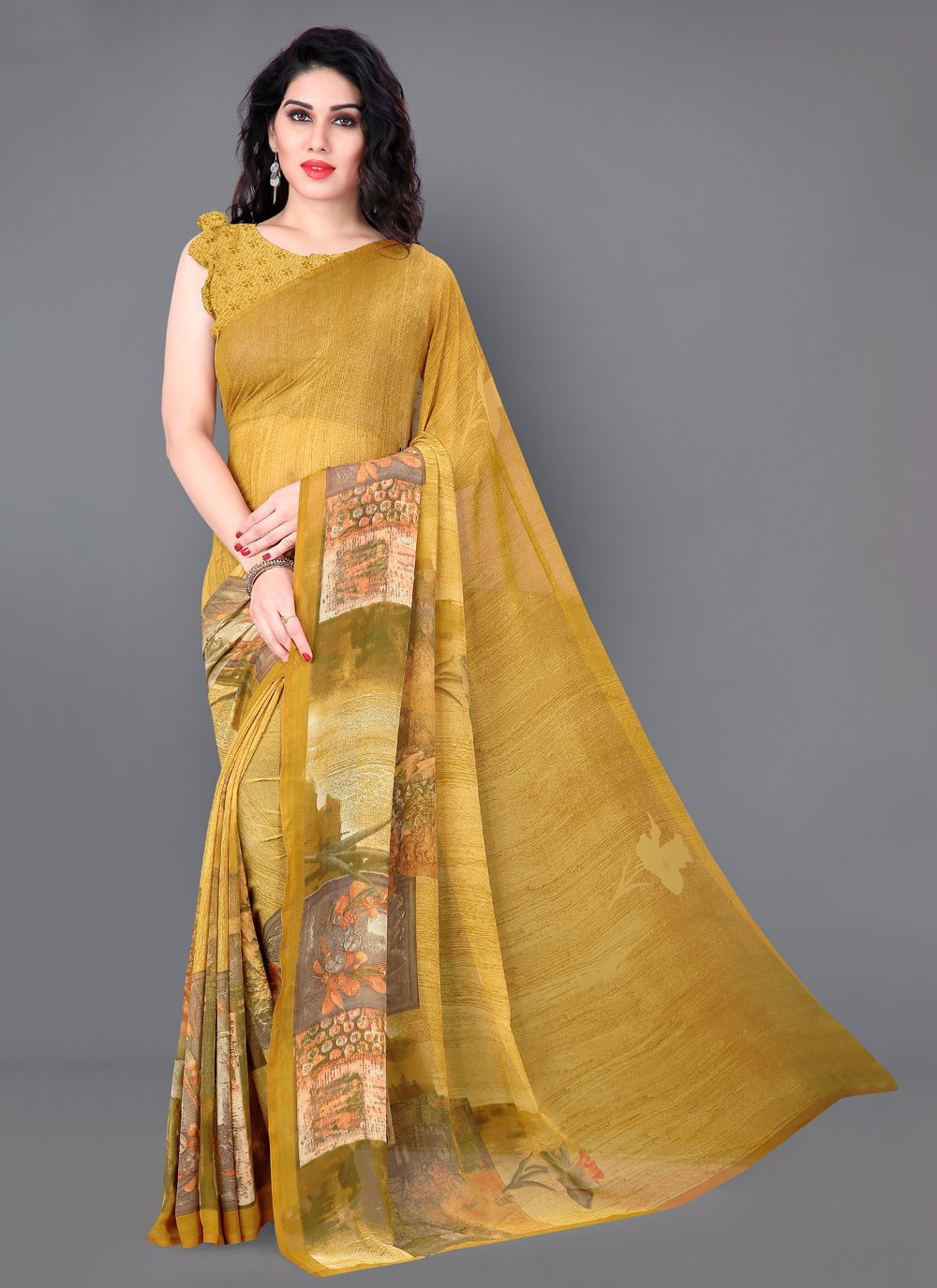 Mustard Printed Faux Georgette Casual Saree
