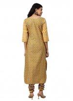 Mustard Printed Party Churidar Salwar Suit