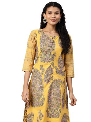 Mustard Printed Party Churidar Salwar Suit