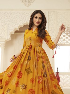 Mustard Printed Party Readymade Gown