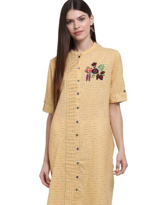 Mustard Printed Party Wear Kurti