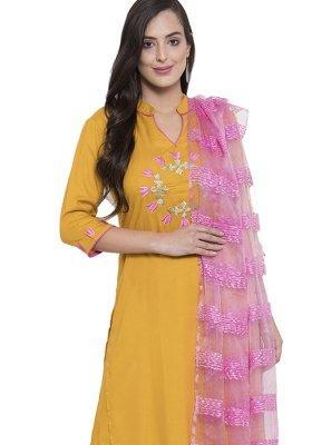 Mustard Printed Salwar Kameez