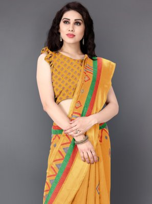 Mustard Printed Trendy Saree