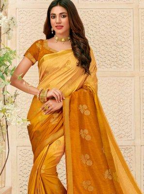 Mustard Raw Silk Bollywood Saree