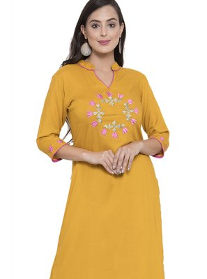 Mustard Rayon Party Wear Kurti