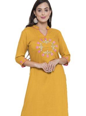Mustard Rayon Party Wear Kurti
