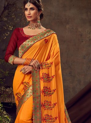 Mustard Reception Traditional Saree
