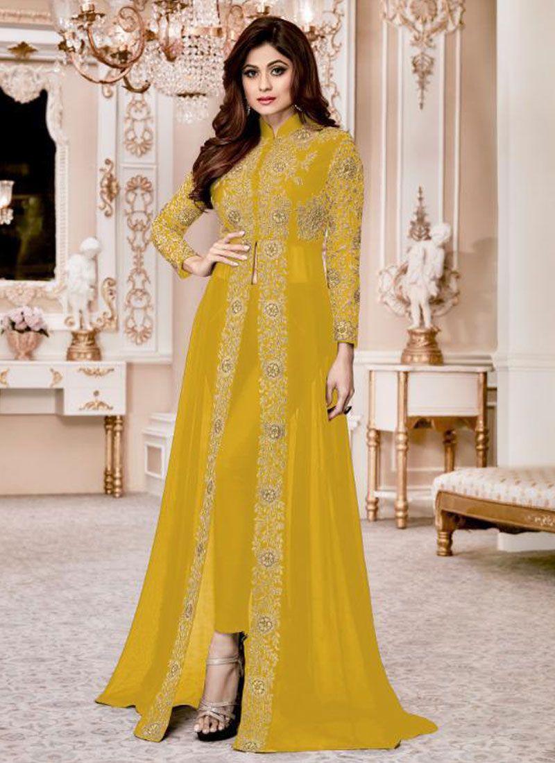 Mustard Resham Anarkali Salwar Kameez