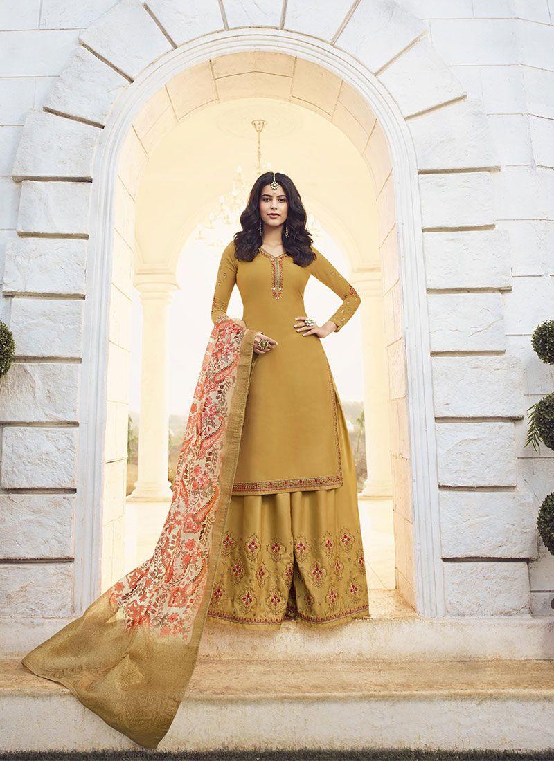 Mustard Resham Designer Palazzo Suit