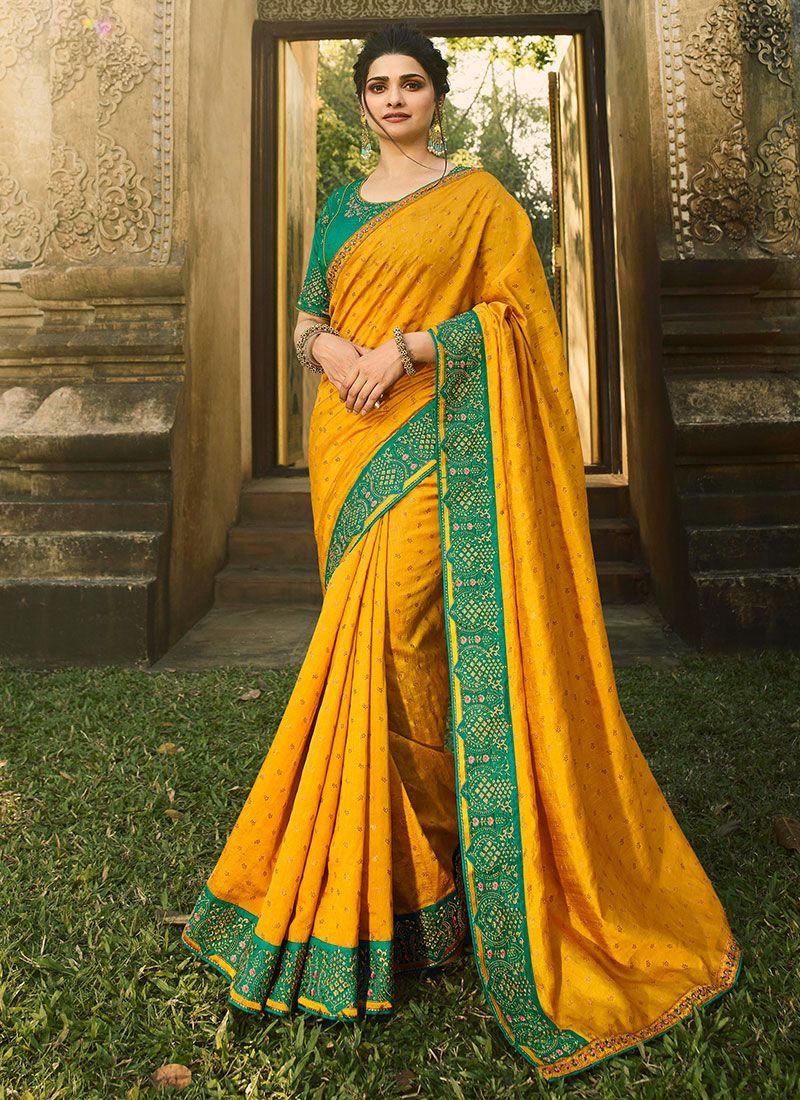 Mustard Resham Designer Saree
