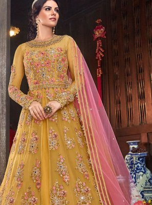 Mustard Resham Net Floor Length Anarkali Suit