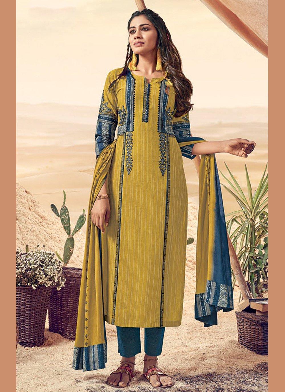 Mustard Resham Pant Style Suit
