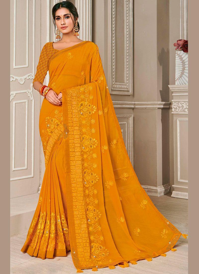 Mustard Sangeet Designer Saree