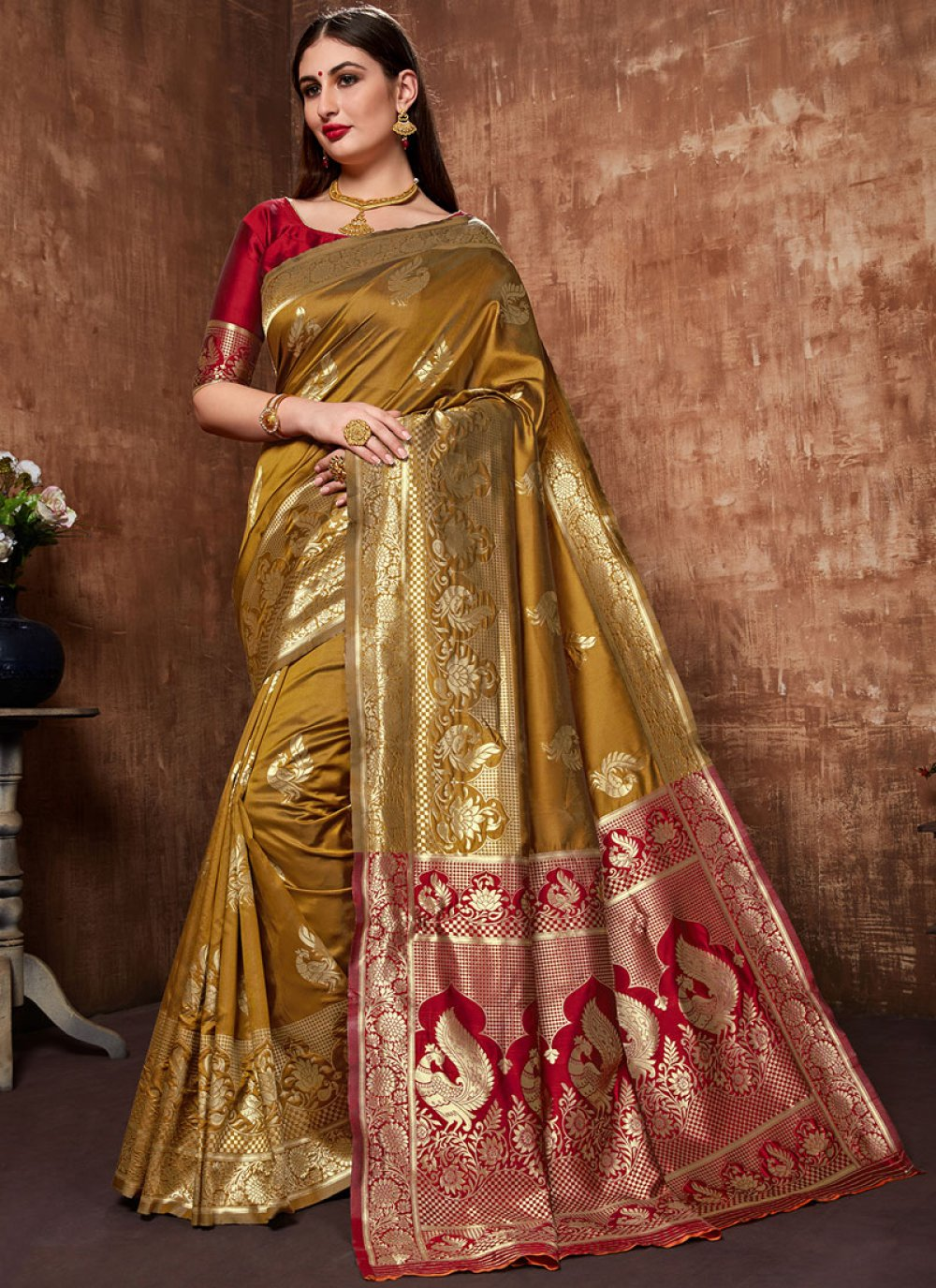 Mustard Sangeet Designer Traditional Saree