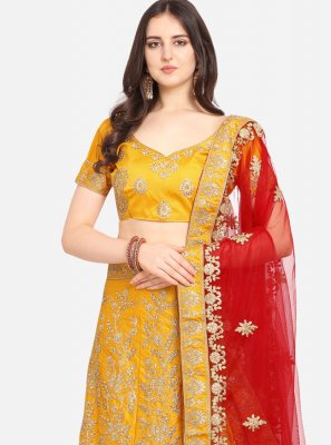 Mustard Satin Embroidered Designer Lehenga Choli