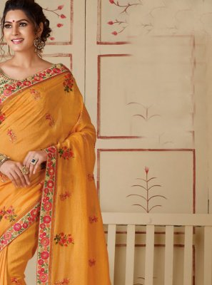 Mustard Silk Embroidered Silk Saree