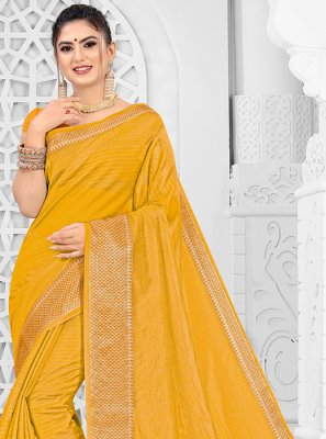 Mustard Silk Mehndi Silk Saree