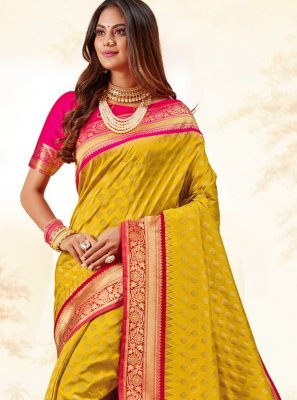 Mustard Silk Party Trendy Saree