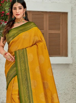 Mustard Silk Reception Classic Designer Saree