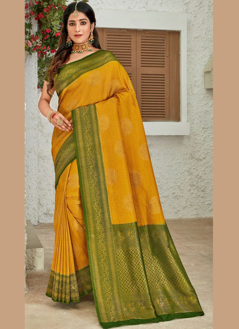 Mustard Silk Reception Classic Designer Saree