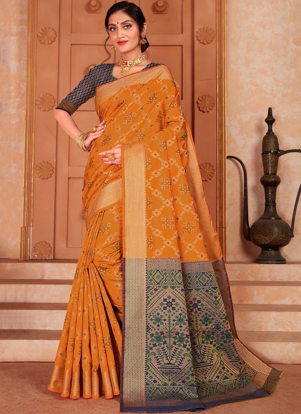 Mustard Silk Woven Classic Saree