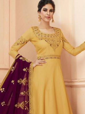 Mustard Tussar Silk Floor Length Anarkali Suit