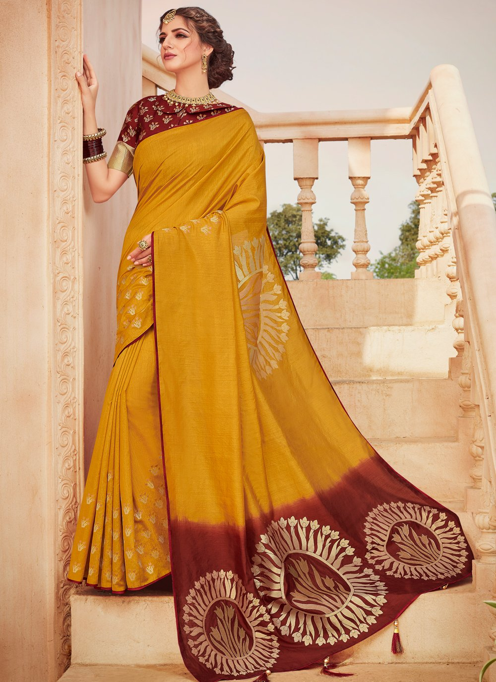 Mustard Weaving Classic Saree