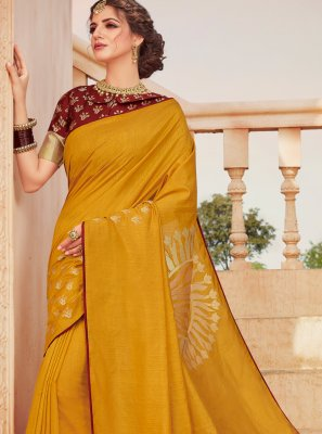 Mustard Weaving Classic Saree
