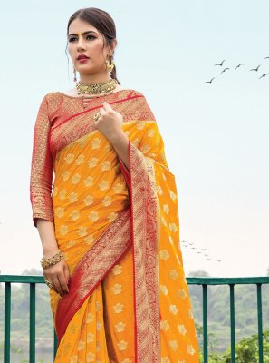 Mustard Weaving Designer Saree
