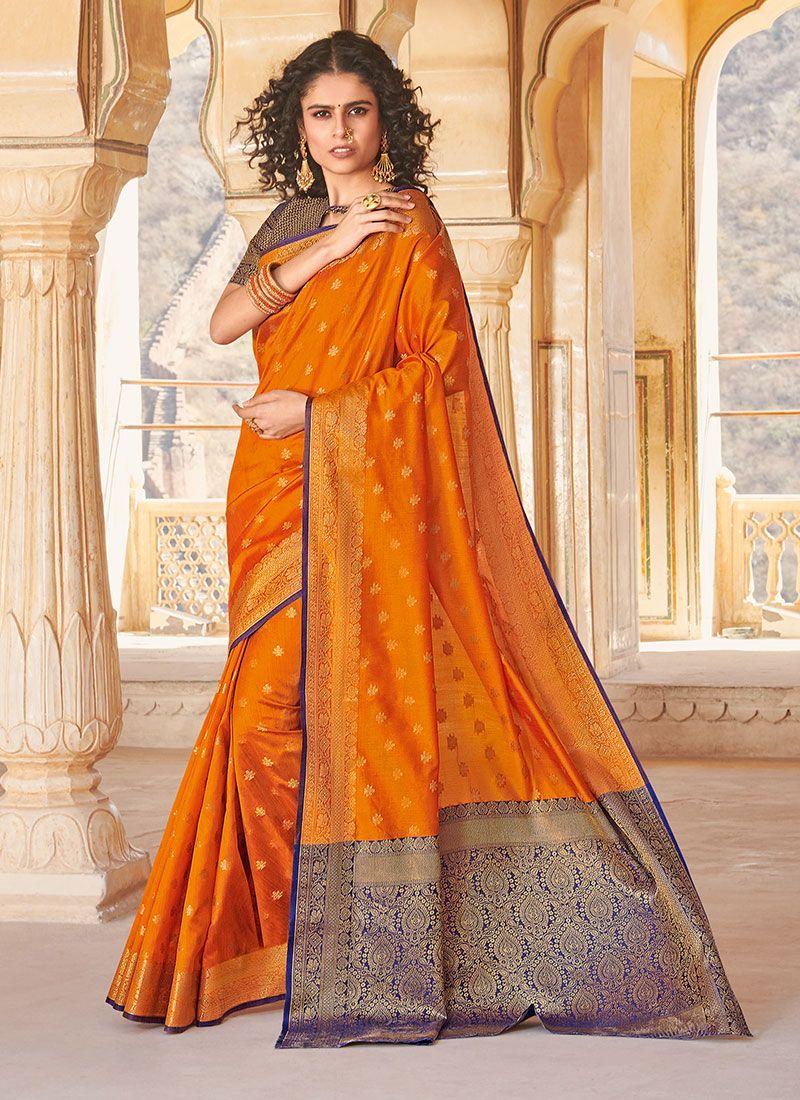 Mustard Weaving Handloom silk Classic Saree