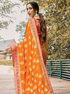 Mustard Weaving Silk Classic Saree